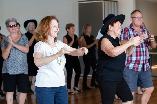 Halcyon Greens open day, March 2020. Sally Wilkens enjoys some dancing. Picture: Renae Droop/RDW Photography